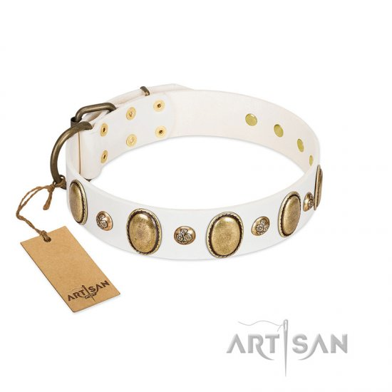 """Milky Lagoon"" FDT Artisan White Leather Pitbull Collar with Vintage Looking Oval and Round Adornments"