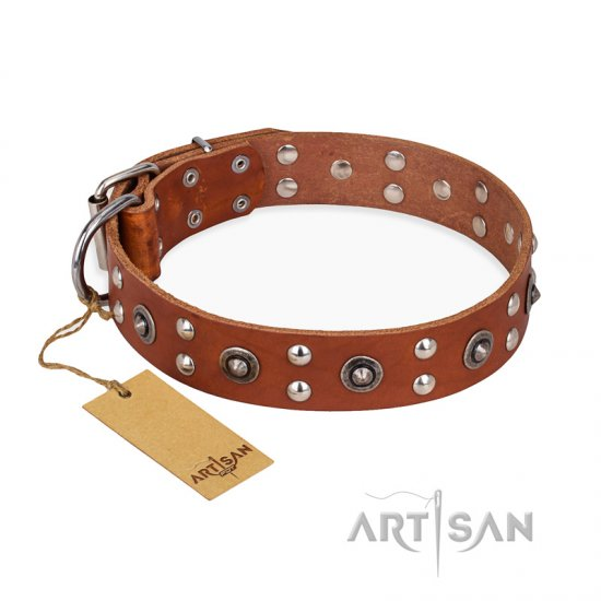 'Silver Elegance' FDT Artisan Tan Leather Pitbull Collar with Old Silver-Likeed Studs and Cones 1 1/2 inch (40 mm) Wide Plat