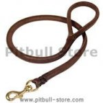 Natural Rolled Leather Dog Leash 3/4 inch for Pitbull