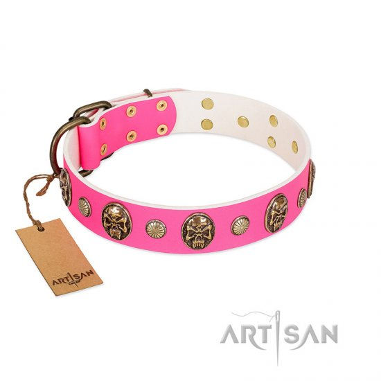 """Miss Pinky Fluff"" FDT Artisan Pink Leather Pitbull Collar Adorned with Conchos and Medallions"