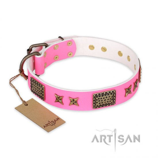 'Tender Pink' FDT Artisan Pitbull Leather Dog Collar with Old Bronze Look Stars and Plates - 1 1/2 inch (40 mm) wide
