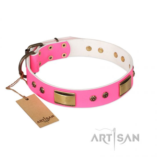 'Pink Dreams' FDT Artisan Pitbull Leather Dog Collar with Adornments 1 1/2 inch (40 mm) wide
