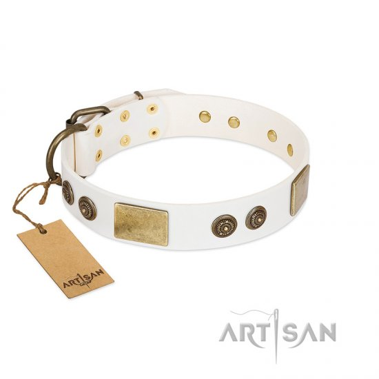 """Sweet Melody"" FDT Artisan White Leather Pitbull Collar with Plates and Ornamented Studs"