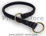 New Dog Collar Round Leather Silent Training Choke Collar 1/2''