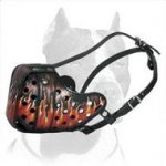 Stylish Flames Painted Leather Muzzle for Pitbull
