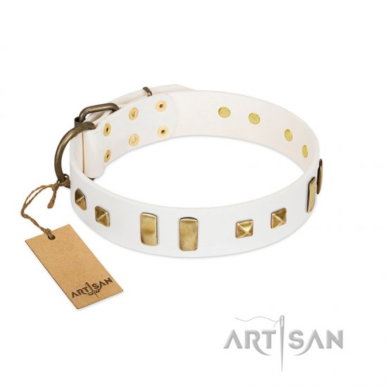 """Wintertide Mood"" FDT Artisan White Leather Pitbull Collar with Old Bronze-like Plates and Studs"