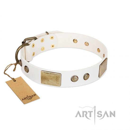 """Pure Elegance "" FDT Artisan White Decorated Leather Pitbull Collar - 1 1/2 inch (40 mm) wide"