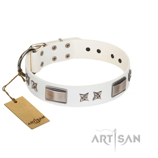 """Bling-Bling"" FDT Artisan White Leather Pitbull Collar with Sparkling Stars and Plates"