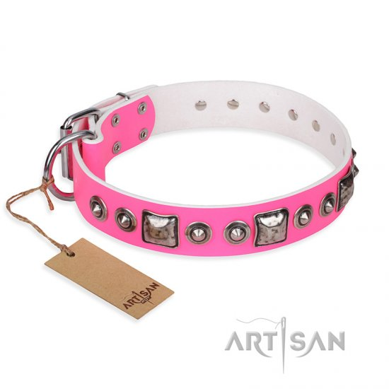 'Juicy Pink' Pitbull Studded Leather Dog Collar with Decorations