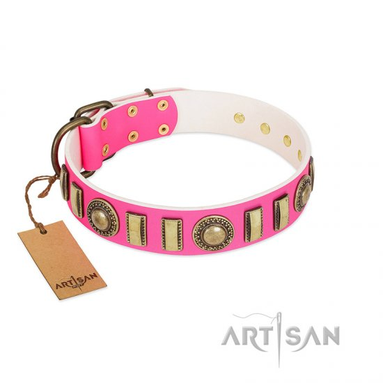 """La Femme"" FDT Artisan Pink Leather Pitbull Collar with Ornate Brooches and Small Plates"