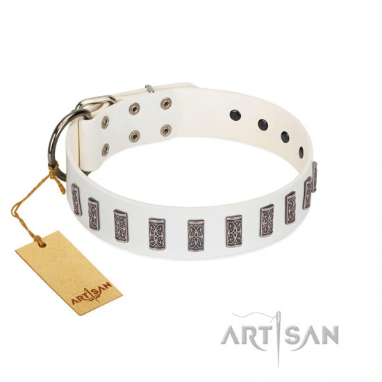 """Heaven's Gates"" Handmade FDT Artisan White Leather Pitbull Collar with Silver-Like Engraved Plates"