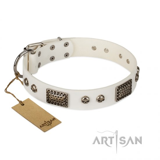 """Terrific Beauty"" FDT Artisan Beguiling White Leather Pitbull Collar"