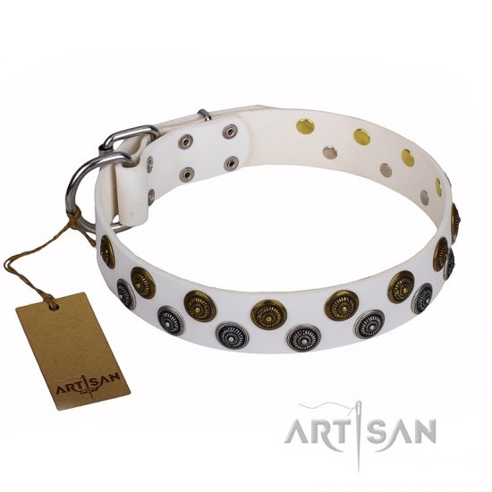"""Snowflake"" FDT Artisan White Leather Pitbull Collar with Sparkling Round Plates"