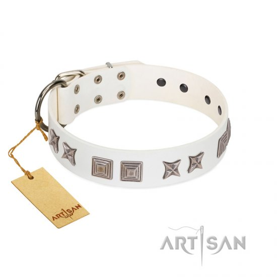 """Mister Perfection"" Designer Handmade FDT Artisan White Leather Pitbull Collar"