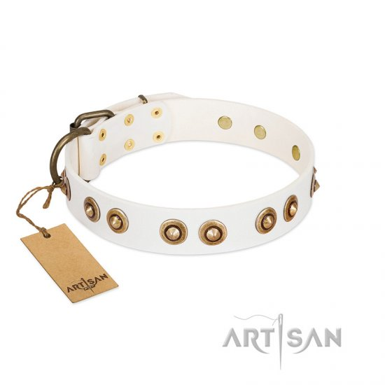 """Moonlit Stroll"" FDT Artisan White Leather Pitbull Collar with Antique Decorations"