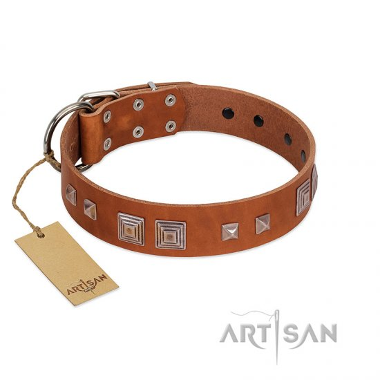 """Egyptian Gifts"" Handmade FDT Artisan Tan Leather Pitbull Collar with Chrome-plated Pyramids"