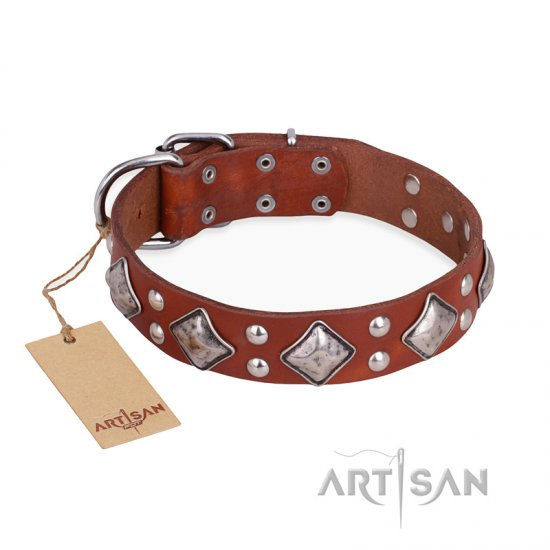 """Magic Squares"" FDT Artisan Royal Quality Tan Leather Pitbull Collar"