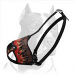 Leather Pitbull Painted in Flames Dog Muzzle