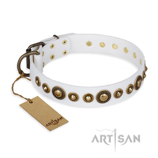 'Swirl of Fashion' FDT Artisan Delicate White Leather Pitbull Collar with Stunning Bronze-like Plated Round Studs