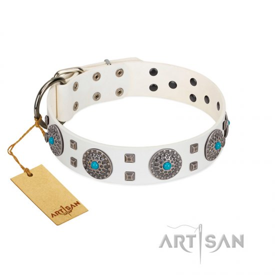"""Blue Sapphire"" Designer FDT Artisan White Leather Pitbull Collar with Round Plates and Square Studs"