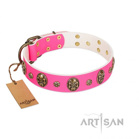 """Fashion Show"" FDT Artisan Pink Leather Pitbull Collar with Old Bronze-like Skulls and Studs"