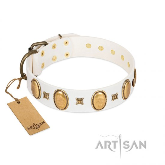 """Chichi Pearl"" Designer Handmade FDT Artisan White Leather Pitbull Collar with Ovals and Studs"