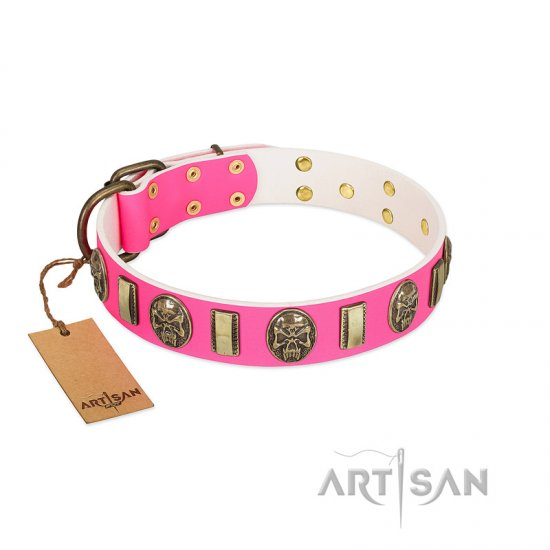 """Perilous Beauty"" Pink FDT Artisan Leather Pitbull Collar with Small Plates and Skulls"