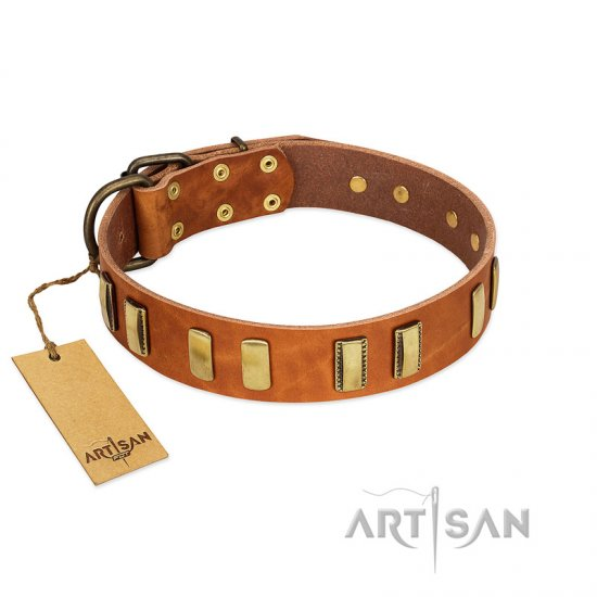 """Olive Slice"" FDT Artisan Tan Leather Pitbull Collar with Engraved and Smooth Plates"