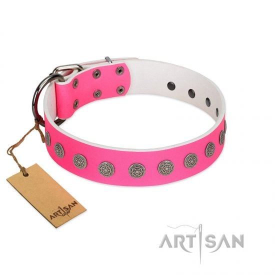 """Pop Star"" Handcrafted FDT Artisan Pink Leather Pitbull Collar with Round Plates"
