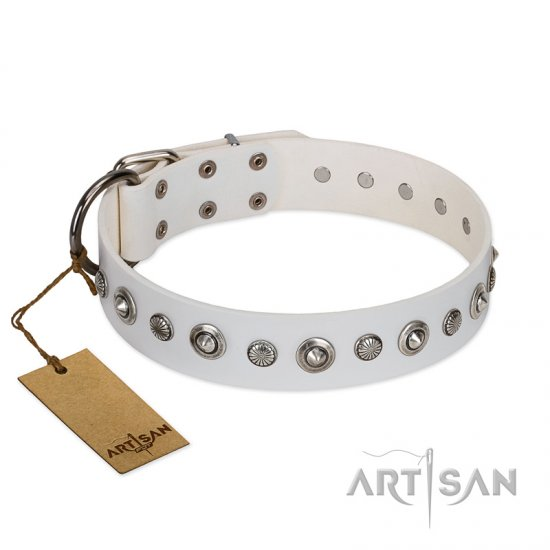 """Infinite Purity"" White FDT Artisan Leather Pitbull Collar with Elegant Decorations"