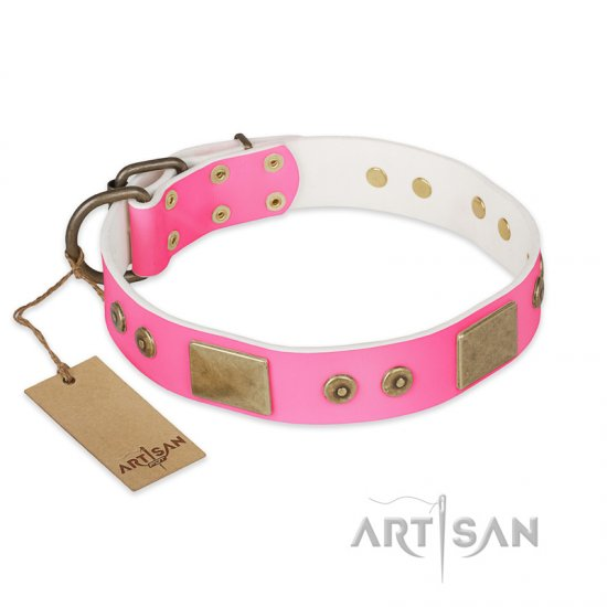 """Pink World"" FDT Artisan Pink Leather Pitbull Collar with Old Bronze Look Plates and Studs"