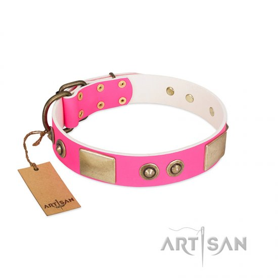 """Pink Splash"" FDT Artisan Soft Leather Pitbull Collar with Bronze-like Plates and Medallions"