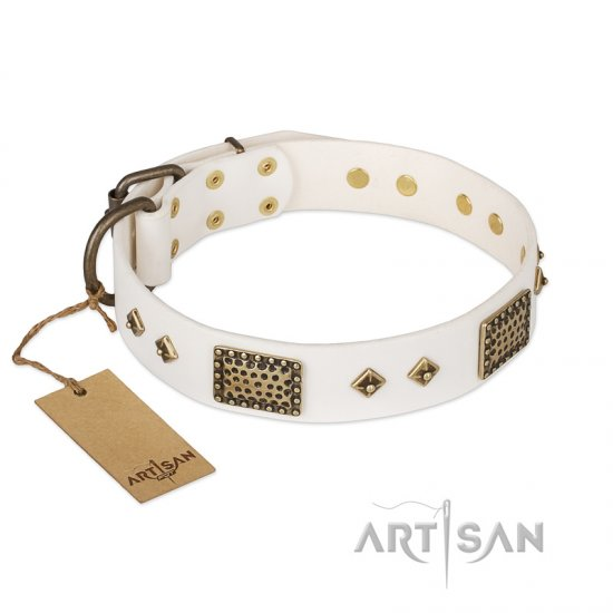 'Snow-covered Gold' FDT Artisan White Leather Pitbull Collar - 1 1/2 inch (40mm) wide