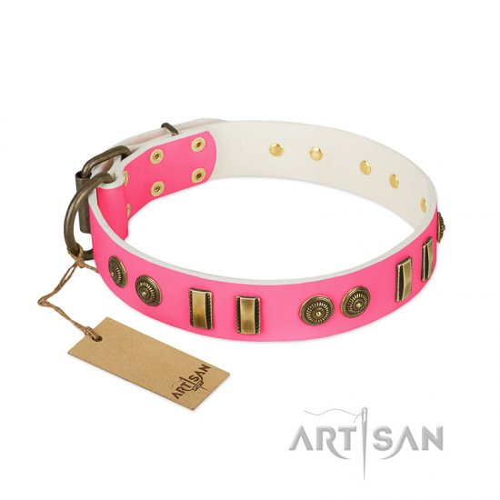 """Pink Amulet"" FDT Artisan Leather Pitbull Collar with Old Bronze-like Plates and Circles"