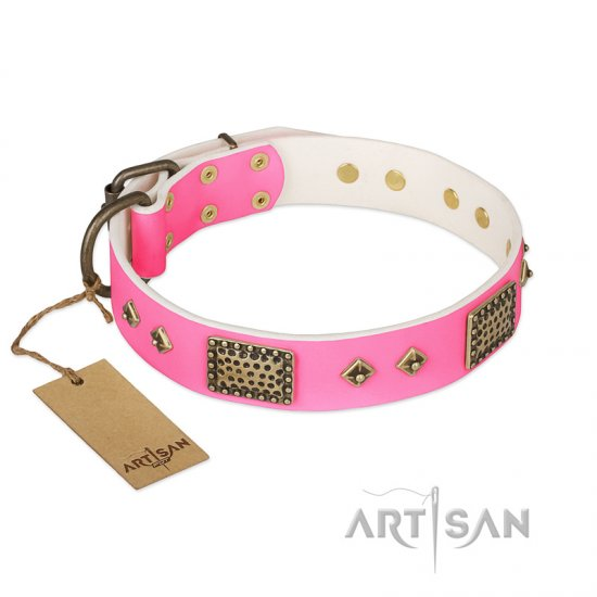 """Frenzy Candy"" FDT Artisan Decorated Pink Leather Pitbull Collar"