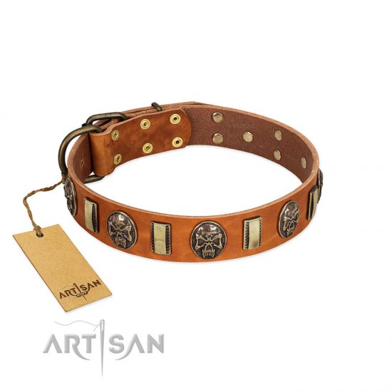 """Strike of Rock"" FDT Artisan Tan Leather Pitbull Collar with Plates and Medallions with Skulls"