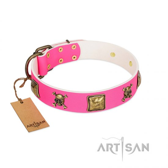 """Wild and Free"" FDT Artisan Pink Leather Pitbull Collar with Skulls and Crossbones Combined with Squares"
