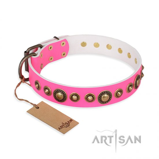 'Pink Gloss' Leather Pitbull Collar with Old Bronze-like Plated Circles and Studs 1 1/2 inch (40 mm) Wide