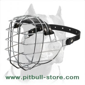 'The Silencer' Wide Wire Basket Pitbull Dog Muzzle