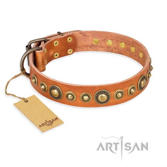 'Feast of Luxury' FDT Artisan Pitbull Tan Leather Dog Collar with Old Bronze-Like Plated Circles - 1 1/2 inch (40 mm) wide