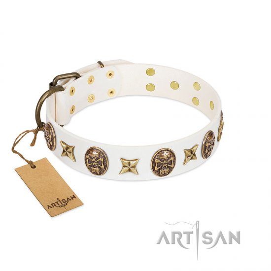 """Fads and Fancies"" FDT Artisan White Leather Pitbull Collar with Stars and Skulls"