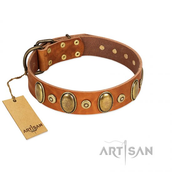 """Crystal Sand"" FDT Artisan Tan Leather Pitbull Collar with Vintage Looking Oval and Round Studs"