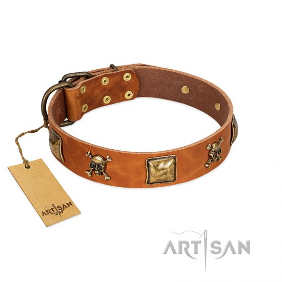 """Knights Templar"" FDT Artisan Tan Leather Pitbull Collar with Skulls and Crossbones Combined with Squares"