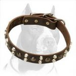 Designer 3 Rows Leather Dog Collar with Pyramids and Studs