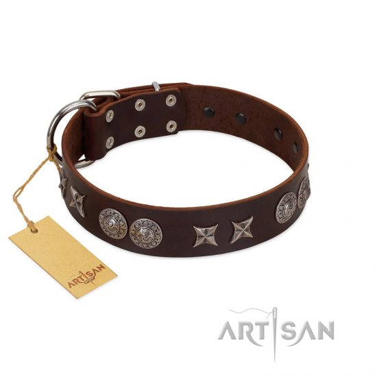 """Antique Style"" Designer Handmade FDT Artisan Brown Leather Pitbull Collar"