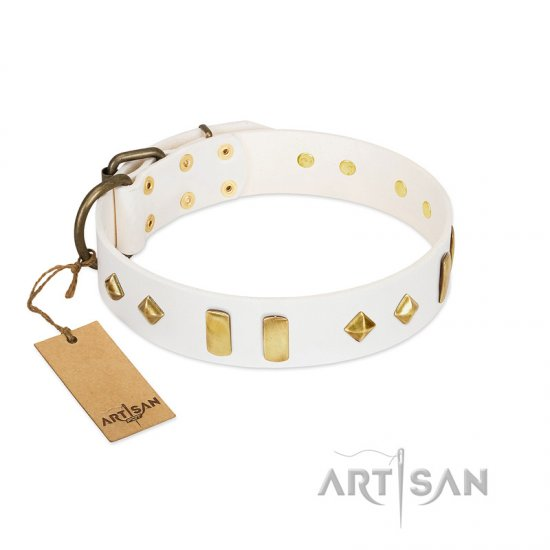 """Hella Cool"" FDT Artisan White Leather Pitbull Collar Adorned with Plates and Rhombs"
