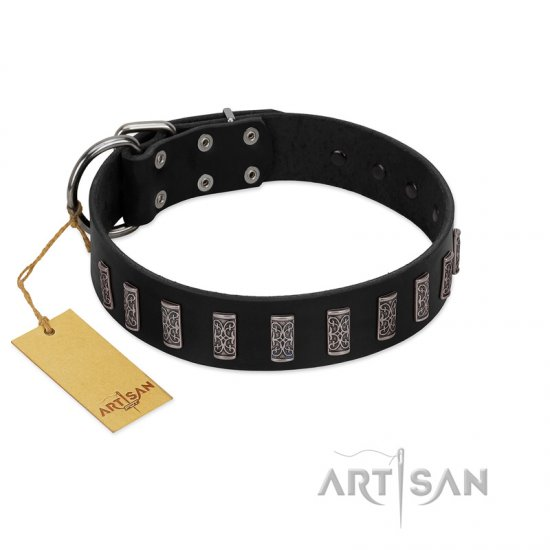 """Black Prince"" Handmade FDT Artisan Black Leather Pitbull Collar with Silver-Like Adornments"