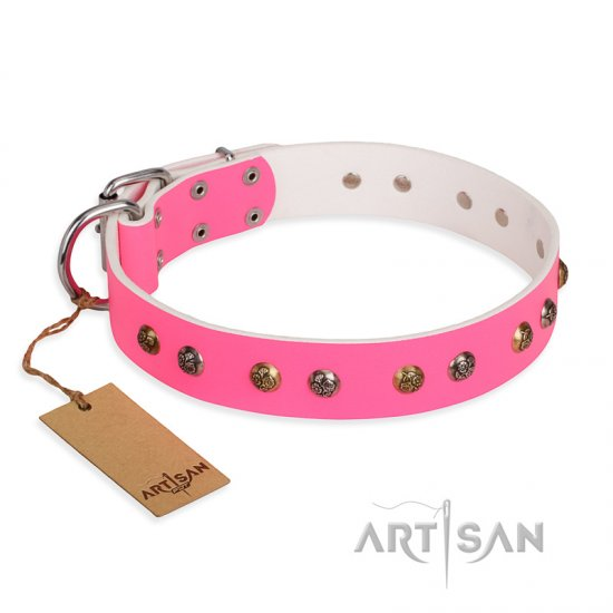 'Sheer Love' FDT Artisan Pink Leather Pitbull Collar with Old-look Hemisphere Studs