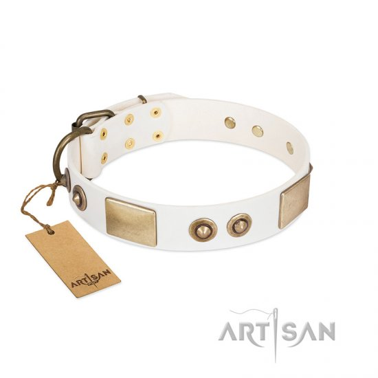 """Noble Impulse"" FDT Artisan White Leather Pitbull Collar Adorned with Antique Plates and Studs"