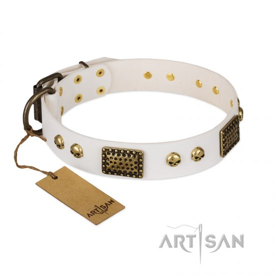 """Lost Treasures"" FDT Artisan White Leather Pitbull Collar with Old Bronze Look Plates and Skulls"